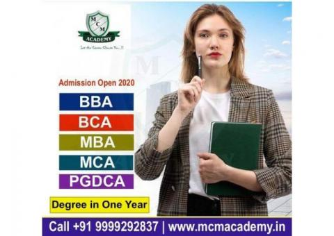 Degree in One Year | MBA BBA BCA MCA BA MA BCom M.Com Online