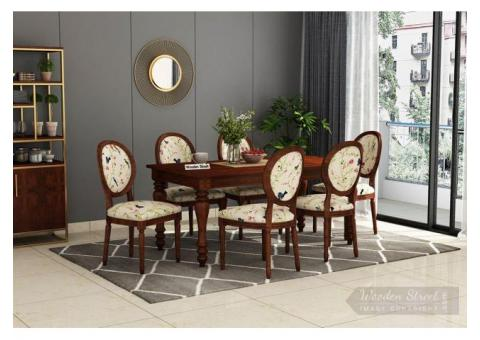 Get Wooden 6 Seater Dining Table Set at WoodenStreet