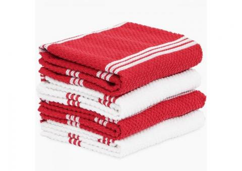 Buy Terry Kitchen Towel 4 pack Ribbed Red at Samysemart