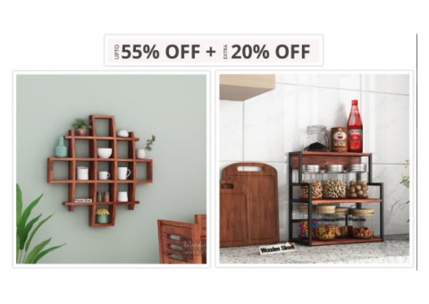 GET Up to 55% Off on Kitchen Rack at Wooden Street