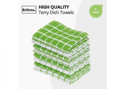 Buy Online Cotton Terry Kitchen Towel 8 pack Checked Green at Samysemart
