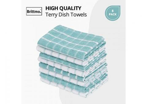Buy Online Cotton Terry Kitchen Towel 8 pack Checked Aqua at Samysemart