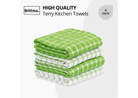 Buy Online Cotton Terry Kitchen 4 pack Checked Green at Samysemart