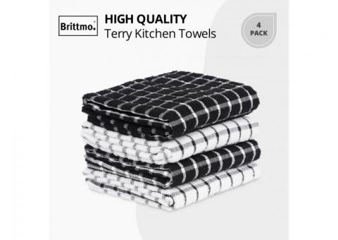Buy Online Cotton Terry Kitchen Towel 4 pack Checked Black at Samysemart