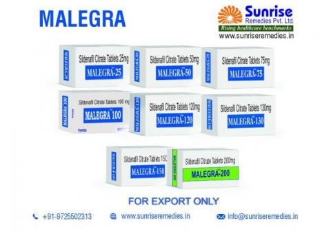 Malegra Products Manufacturer and Exporter at Sunrise Remedies
