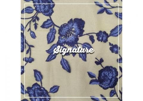 Buy Beige Net Fabric With Indigo Purple Floral